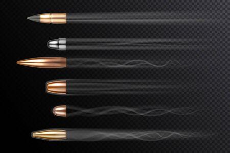 Balles volantes avec des queues de fumée de feu de tir, vecteur réaliste isolé sur fond transparent. Tir de balle en mouvement, différents types de calibre avec tir de traînées de fumée, arme à feu et arme à feu Vecteurs