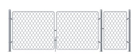 Wired fence or chain link fencing, chainlink metal construction for concert, steel barrier for security with gate or wicket. Secure entrance for military or fight cage. Border, obstacle, safety theme Ilustração
