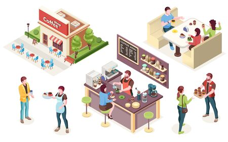 Coffeehouse, cafe or coffee shop, vector isometric icons. Cafe interior and staff, barista at counter with coffee machine, waiter and woman with takeaway cup, friends at cafeteria tables in street