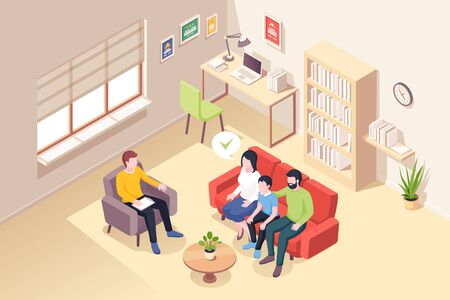Family at psychologist counseling, vector isometric illustration of people at psychologist counselor couch. Man and woman with son at psychology counseling session, family and kid relationship problem