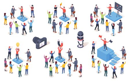 Opinion leader, audience influencer, vector isometric icons. Brand marketing campaign and SMM social media influence creative concept. Opinion leader leading people customers with magnet and idea lamp