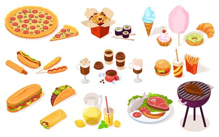 Set of fast and street food. Vector hot dog, pizza, onion ring, sushi, ice-cream, candy-floss, burger, burrito, sandwich, fried french fries, soda, chocolate, lemonade, grill meat, sausage. Nutrition