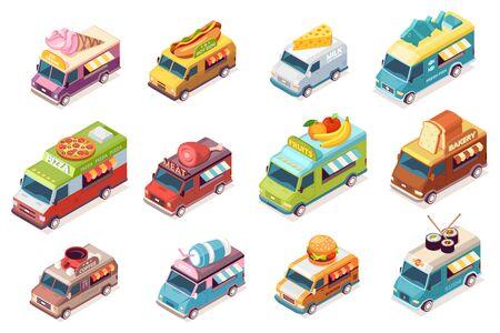 Conjunto de camiones de comida callejera aislados. Furgoneta de comida de vector con comida rápida y bebida. Helados y carne, hot do y leche, queso, pescado, pizza, fruta, panadería, pan, café, jugo, hamburguesa, sushi. Coche o auto Ilustración de vector