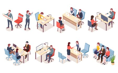 Recruitment agency workers in isometric view. HR workers recruit candidate or hire applicants. Job interview for vacant place. Man and woman having conversation with unemployment. Job search icon Illustration
