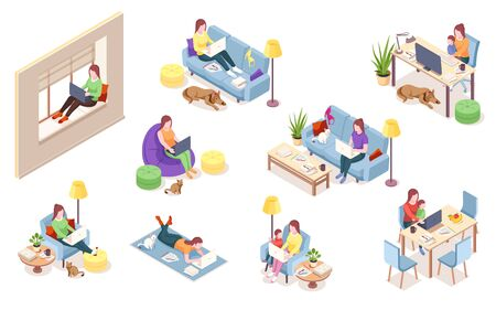 Set of isolated vector woman at workplace. Girl with notebook sitting in chair bag, windowsill, sofa desk with computer, lying on floor. Freelancer working with dog, cat, pet.Isometric office employee
