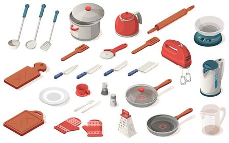Set of kitchen utensil, food,equipment, appliance. Dripping pan, saucepan, knife, kettle, scoop, spatula, rolling pin, scales, mixer, cutting board, plate, cup, pepperbox, gloves, grater, pizza cutter Stock Illustratie