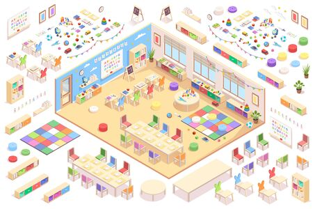 Kindergarten interior constructor, isometric vector elements of furniture, education supplements and toys. Kindergarten isometry cross-section details of playroom table, chair, blackboard and shelves Stock Illustratie
