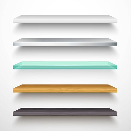Book store shelves, vector isolated 3D mockup models with shadow. Horizontal white bookshelf of metal, plastic, transparent glass and wood, realistic texture, library stands and bookstore elements