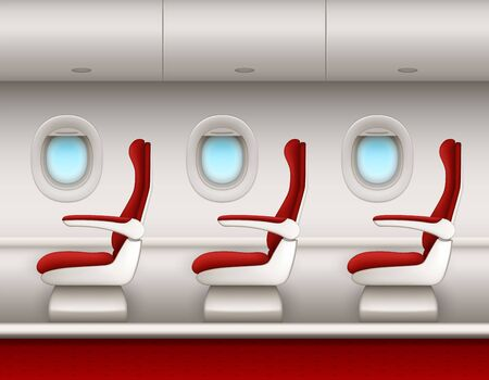Airplane interior vector background with passenger seats row, open porthole windows and luggage compartments. Aircraft cabin side view with premium or economy class red seat chairs, plane salon
