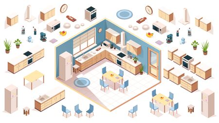 Kitchen elements for room design. Constructor elements of kitchenware utensil, appliance, items. Isometric shelf, oven, milk, fruit plate, fridge, washbasin, plant, table, chair. Furniture for cooking