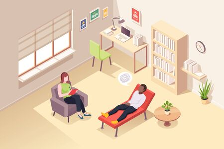 Man at psychologist counseling, vector isometric design, people at woman psychologist counselor couch. Man at psychology therapy session for mental crisis, anger, depression and life problems
