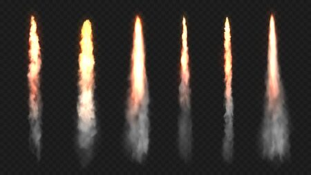 Rocket fire and smoke trails, vector realistic spacecraft startup launch elements. Space rocket launch or startup jet fire flames, airplane shuttle contrails, isolated set on transparent background