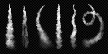 White smoke trails, vector realistic set of stem jet clouds of plane contrail or spaceship launch. Airplane track smoke trails in curve and spiral shape, smoky flow texture on transparent background