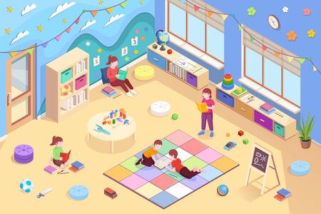 Kindergarten isometric vector interior and children design. Kindergarten kids reading books, girls sitting and boys lying on floor and learning books, preschool education activity, isometry background
