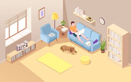 Isometric room with man sitting on sofa and doing remote job using notebook. Vector boy with laptop doing freelance work. Reclining male working at home over internet. Lad on couch. Workspace Stock Illustratie