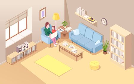 Woman on chair with kid doing remote work at notebook. Isometric view on living room with female freelancer and child. Young mother doing work or job using laptop. Home workplace interior Stock Illustratie