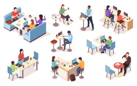 Set of isolated vector isometric people with notebook at cafe. Cafeteria work or job at dining room infographic element. Workspace icons. Coworker with coffee or tea. Business lunch with coffee