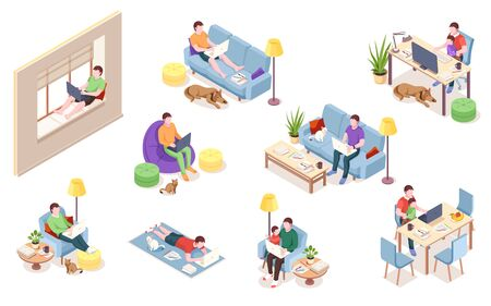 Set of office employee at workplace, man working with notebook and computer. Freelancer doing remote job near cat, dog, pet. Male on windowsill, carpet, sofa. Profession, job, freelance worker