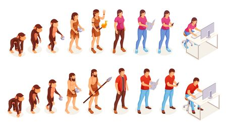 Human evolution, vector icons of man and woman from ape monkey to office worker. People evolution process from caveman primitives to modern life Stock Illustratie