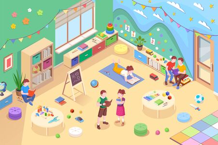 Children at kindergarten reading books. Isometric vector playroom with preschool kids reading textbook. Child on carpet with literature. Boy and girl learning. Room interior. Childhood study, teaching