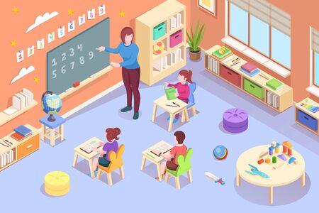 Kindergarten kids and teacher learning activity, vector isometric design. Kindergarten educator teaching children mathematics numbers count on blackboard and write in notebooks, preschool education