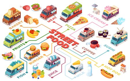 Banner for street fast food with isometric van or trucks. Vector auto for drink sale. Fruit and pizza, fish and milk, hot dog and burger, sushi and juice, bakery and coffee, ice-cream, meat. Meal bus Stock Illustratie