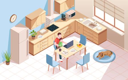 Remote worker at kitchen doing work and using notebook. Man a cup of coffee and child at room with dog. Freelancer employee at home work with kid. Isometric vector interior. Freelance, remote work