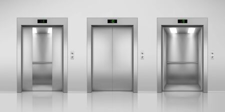 Realistic vector elevators with opened and closed, half-open doors. Steel lift in modern interior with up and down arrow buttons and floor indicator. Building or office hall, hotel corridor doorway