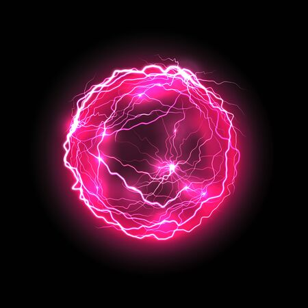 Vector purple energy ball with lightings. Electricity violet bolt or magic orb, glowing plasma or night thunder spark, electric flare, shock or storm. Realistic thunderbolt. Party and music, science Stock Illustratie