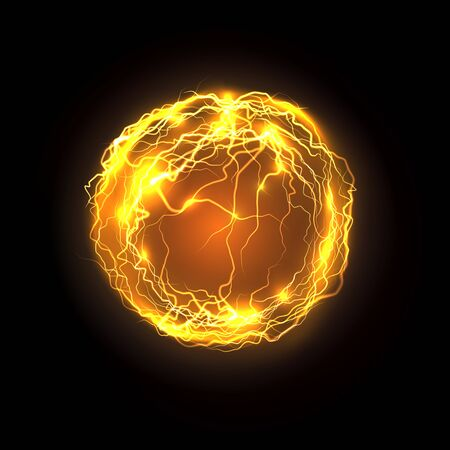 Magic power bolt and lightning. Realistic vector energy ball or magical orb, plasma abstract background. Yellow or golden thunderbolt, storm or space effect. Music and party, nightclub theme