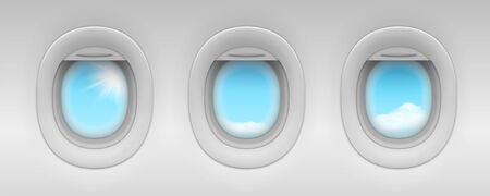 Blue sky and cloud behind airplane portholes. Realistic aircraft or jet, plane windows isolated. Indoor view on passenger illuminator. Passenger cabin indoor or inside view. Flying trip and cloudscape Иллюстрация