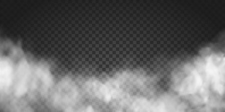 Vector realistic smoke cloud or gray fog, rocket or missile launch pollution. Abstract gas on transparent background, vapor machine steam or explosion dust, dry ice effect, condensation, fume Stock Illustratie