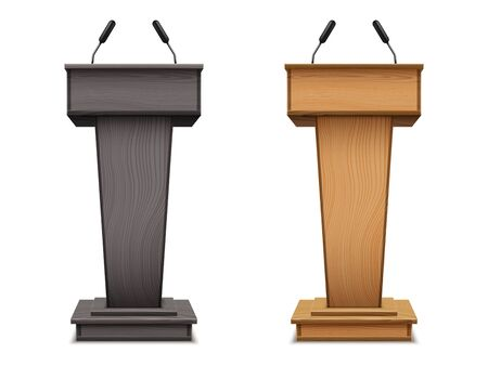 Set of wooden podium or speech tribune, debate black stand or pulpit with microphone. Realistic platform with mic. Speech grandstand for spokesman, politician, press conference stage, election