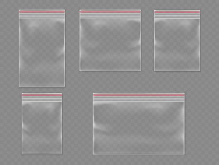 Sealed polythene 3d bags or realistic plastic pack with self adhesive flap. Realistic vector waterproof container for food or shop product. Set of isolated empty package template. Medical pouch