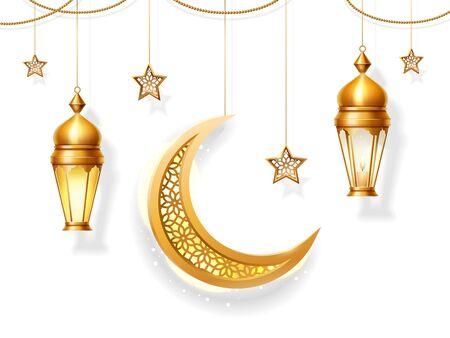 Background decoration for Iftar or Eid al Adha, Eid-al-Fitr or Ramadan fasting, Eid Qurban or bakrid festive arabic card. Islam holiday, Hari raya. Muslim ornament Stock Illustratie