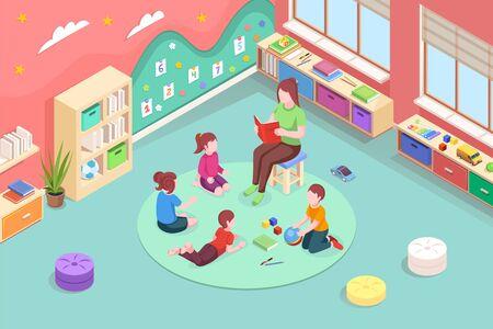 Kindergarten kids and teacher reading book, vector isometric design. Kindergarten woman teacher read fairy tale book to children, preschool education, learning and development activity Stock Illustratie