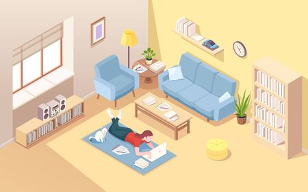Woman lying on floor doing remote work at laptop. Female at home carpet with notebook doing freelance work. Isometric interior of living room with girl freelancer. Internet worker. Office overwork Stock Illustratie