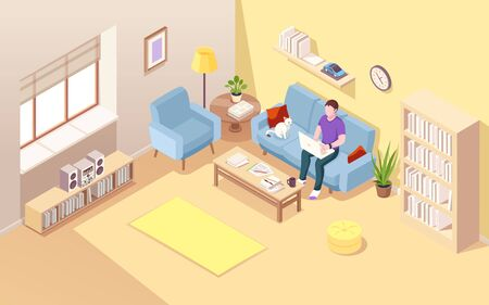 Isometric living room with man freelancer and notebook. Boy doing freelance job at sofa. Remote worker on couch with cat and cup of coffee. Home office for lad. Interior with worker.