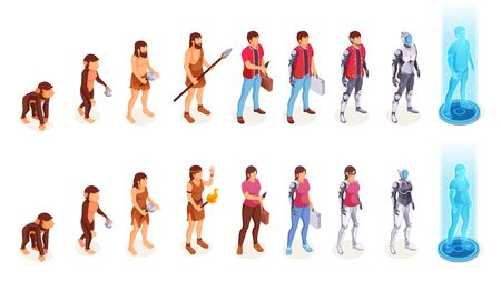 Human evolution of man and woman from ape monkey to office worker and cyborg. People evolution process from caveman primitives to modern life and artificial intelligence technology, vector icons