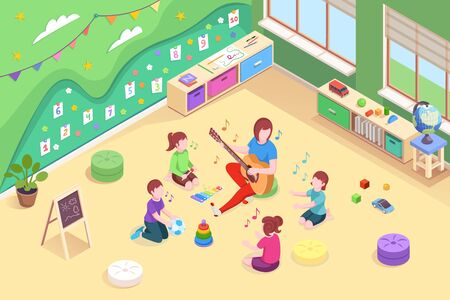 Kindergarten isometric vector design, kids and teacher learning to sing. Kindergarten woman teacher playing guitar music and singing to children, preschool education, learning and play activity