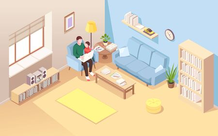 Man on chair with kid doing remote work at notebook. Isometric view on living room with male freelancer and child. Young father doing work or job using laptop. Home workplace interior Stock Illustratie