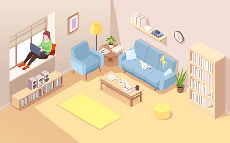 Freelancer on windowsill using notebook for doing remote job. Isometric vector living room with woman near window working at laptop. Home office for female business concept. Comfortable workplace Stock Illustratie