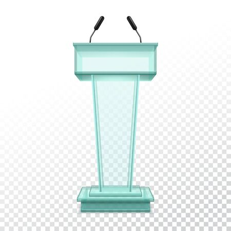 Vector realistic stand for press conference or glassware podium for political speaker. 3d platform with microphone or pedestal on stage or scene. Interior tribune or rostrum with mic. Audience