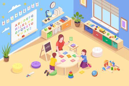 Teacher at kindergarten with kids learning alphabet.