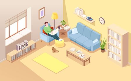 Man sitting in chair with notebook doing freelance job or remote work  イラスト・ベクター素材