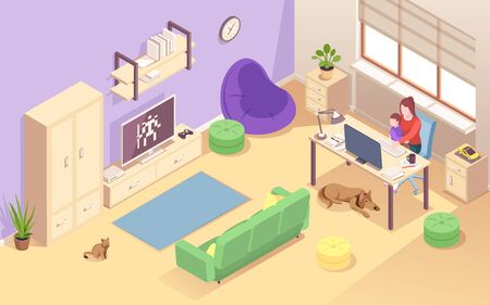 Woman with child working at home. Isometric view on living room with young mother and kid at desk.