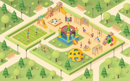 Isometric playground with children. Yard with kids playing. Park with sandpit and seesaw, sandbox and carousel, soccer field and swedish ladder, castle and bench.Outdoor game activity sign design