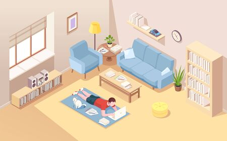 Man lying on floor doing remote work at laptop. Male at home carpet with notebook doing freelance work. Isometric interior of living room with boy freelancer. Internet worker. Office overwork