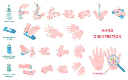 Hand wash hygiene and disinfection, vector infographic icons. Coronavirus virus protection hand wash procedure, antibacterial liquid soap, alcohol wipes and sanitizer gel use for virus disinfection  イラスト・ベクター素材