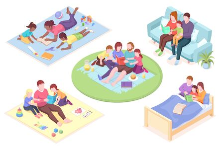 Set of isolated vector illustration of parents reading book for their children. Father and mother read fairy tale for kids. People at bedtime or character reading story. School learning with parents